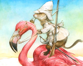 Ferret sur rider - aventure d'art - safari - oiseau - Flamingo (impression)