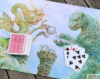 Teatime in the Land of Monsters Card Playmat - fantasy art, gaming, card game, poker, solitaire, humor, jabberwock, godzilla