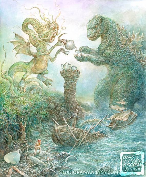 Tea Time in the Land of Monsters print fantasy art monster | Etsy