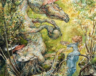 Tea Time (print) dragon, young girl, tea party, fantasy art, children's room, illustration, fairy tale