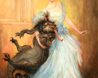 The Socialite (print) - accessories, monster, pet, fashion, beauty and the beast, funny, artwork, illustration