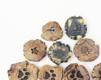 Handmade OOAK Tokens With Graphic, Rustic Primitive Game Tokens, Undrilled Pottery Charms, Dog Print, Sailboat, Dragonfly, Turtle