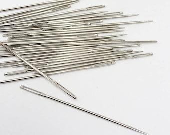 Lot 10 20 50 Long Sharp Sewing Needles, Large Eyed Yarn Darner, Embroidery, Pine Needle Basketry Needle, Teacher's Supply, Sharp Points