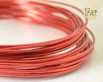 crafts jewelry ORANGE 30ft 12ga Aluminum Craft Wire floral designs wire wrapping 12 gauge 9.2m