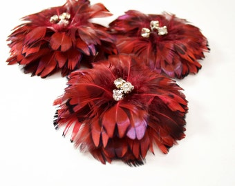 Delightful Feather Flowers - Red Pheasant Heart (1pc)