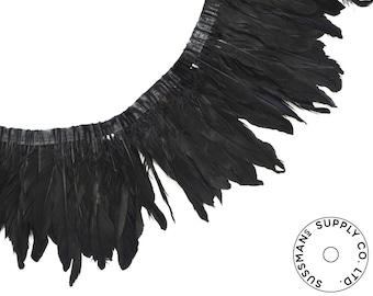 "Feather Trim - Goose Feather Satinette Fringe Trims - Black - 5""-7"" (1 yard)"