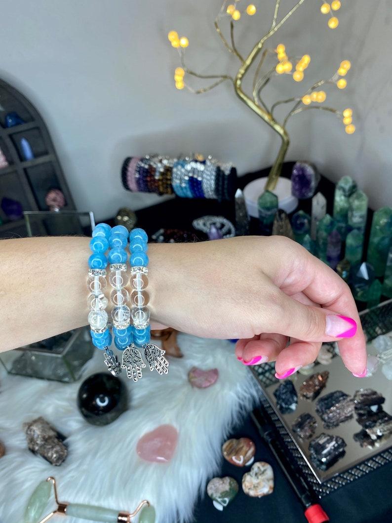 crystal beaded bracelet crystal bracelet stretch bracelet mala bracelet Angelite bracelet