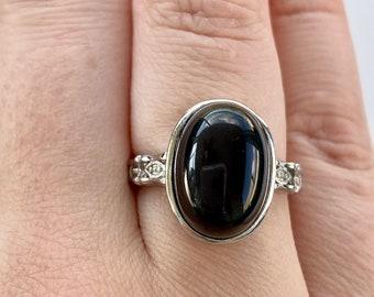 Black Obsidian Silver Adjustable Ring | Black Obsidian Stone | Root Chakra