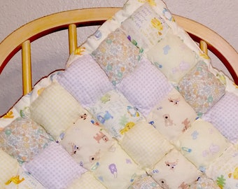 Puffy Pillow Baby Tummy Time Quilt- Neutrals/Animals