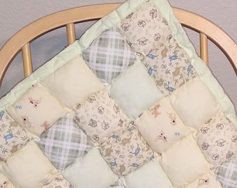 Puffy Pillow Baby Tummy Time Quilt- Neutrals/Greens