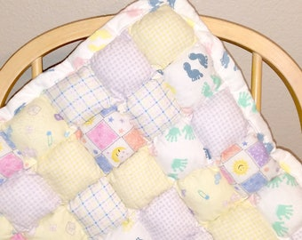 Puffy Pillow Baby Tummy Time Quilt- Pastels & Checkers
