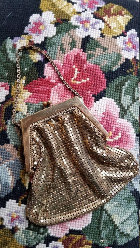 VINTAGE Mesh Bag, Tiny Handbag, metal mesh, chain