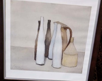 Giorgio Morandi Framed Print, Poster Litho, Mid Century Modern Art