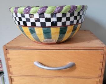 "Mckenzie Childs Piccadilly 9"" bowl"
