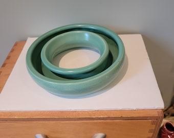 Antique bulb bowl, pottery ring, planter