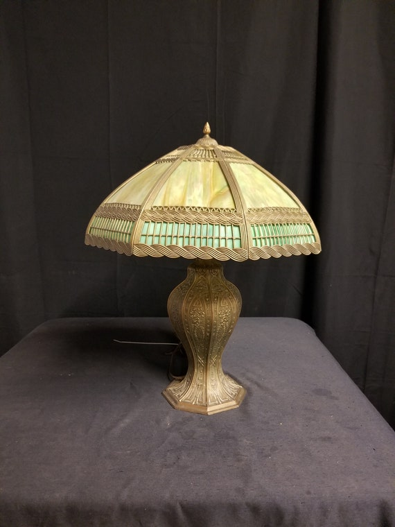 Antique Glass Dome Table Lamp, Brass Victorian Table Lamp, Tiffany Dome Lamp