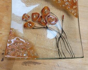 Handmade art glass dish