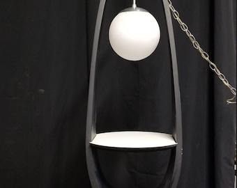Mod 1960s  hanging light with shelf