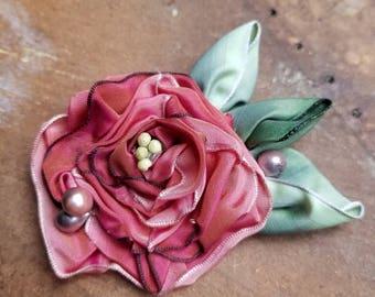 Ribbon Rose Pin,  Handmade Flower Corsage
