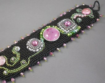 A Garden Path Bead Embroidered Cuff