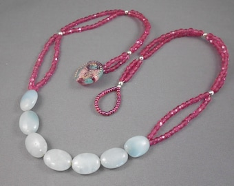 Raspberry Czech Glass & Amazonite Beaded  Necklace
