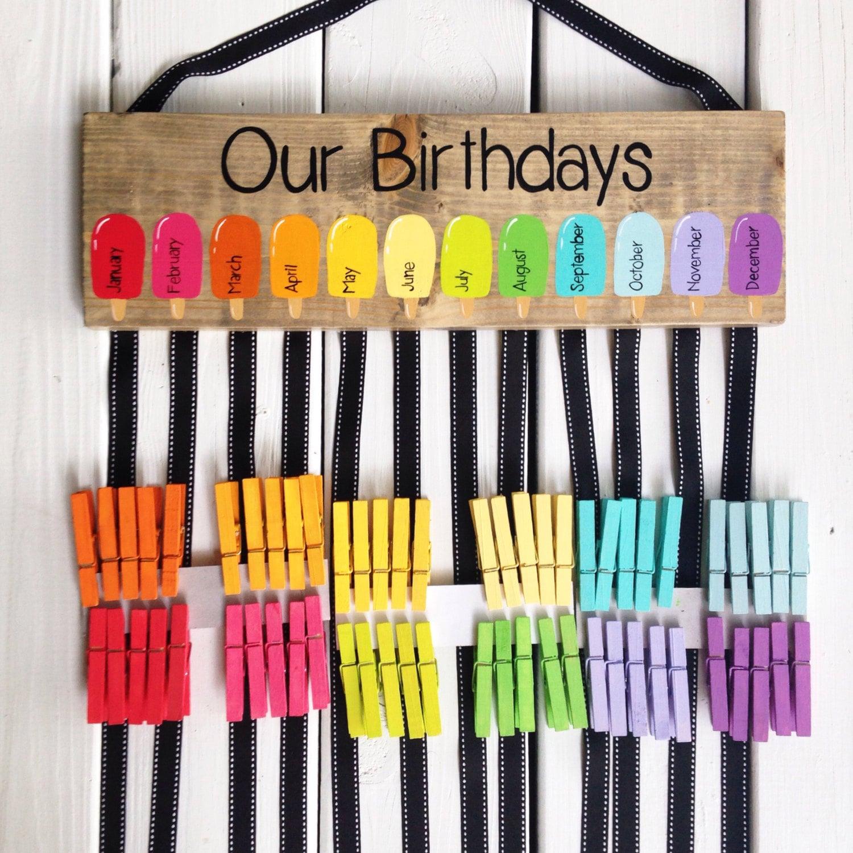 Birthday Chart Class Birthdays Classroom Decor Rainbow