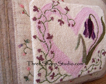 Flowers From The Heart - Punch Needle Pattern - #PN515 - Needlepunch Embroidery