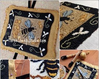 Punch Needle Pattern - Sweet Honeycomb - #PN529- Needlepunch Embroidery