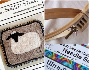 Beginner Punch Needle Kit - Sheep - #BPN1/Kit - Needlepunch Embroidery