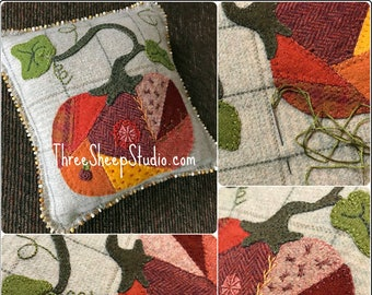 Crazy Quilt Pumpkin - Wool Applique Pattern #WA109