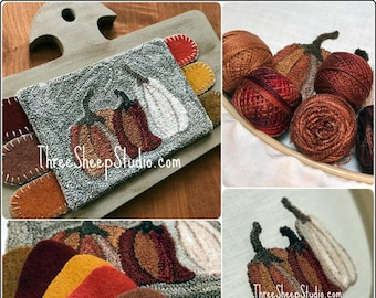 Punch Needle Pattern - Rustic Pumpkins - #PN555 - Needlepunch Embroidery