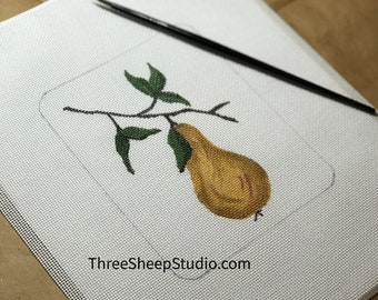 Needlepoint Canvas - Hand Painted - 'Golden Pear' - Hand Embroidery
