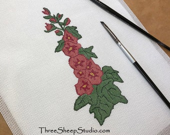 Needlepoint Canvas - Hand Painted - 'Hollyhocks' - Hand Embroidery