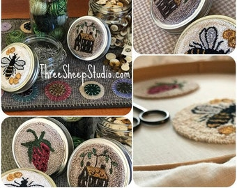 Sweet Berry, Homestead, Bumbler, Canning Jar Toppers - Punch Needle Pattern - #PN604 - Needlepunch Embroidery