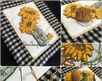Simply Sunflowers - Punch Needle Pattern - #PN546 - Needlepunch Embroidery