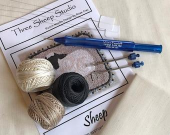 Beginner Punch Needle Kit - Sheep - #BPN1/Kit - How To - Needlepunch Embroidery