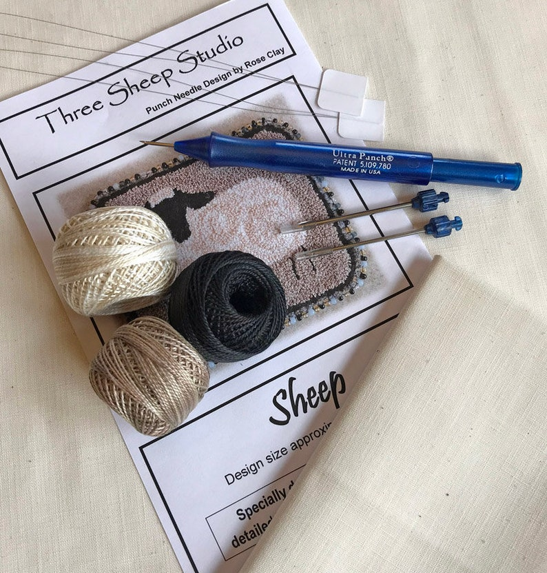 Beginner Punch Needle Kit  Sheep  BPN1/Kit  How To  image 0