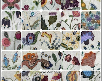 Jacobean Flower Pattern Book - 30 Original Designs For Wool Applique, Hand Embroidery
