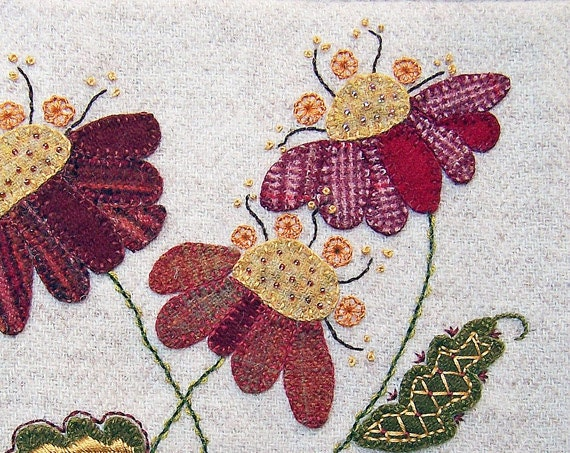 Jacobean flower wool applique hand embroidery pattern jac etsy