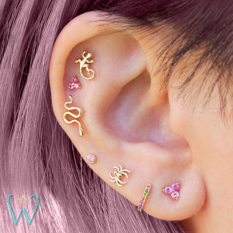 Serpent Earring Snake Jewelry Stud Earrings Cartilage Etsy