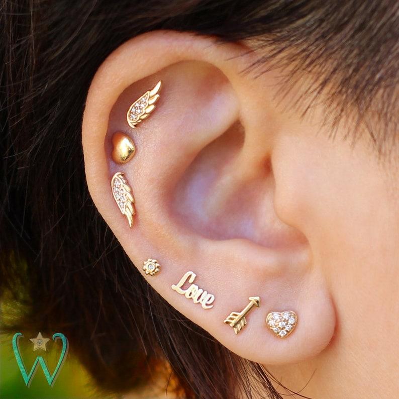 35ffe2a076be1 Arrow Earring, Stud Earrings, Cartilage Earring, Helix Earring, Conch  Earring, Gold Earrings, Snap Back Earrings, Gift for Her, WishWhim