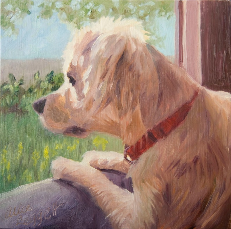 Looking Out the Window 6x6 Original Oil Painting on Panel by image 0