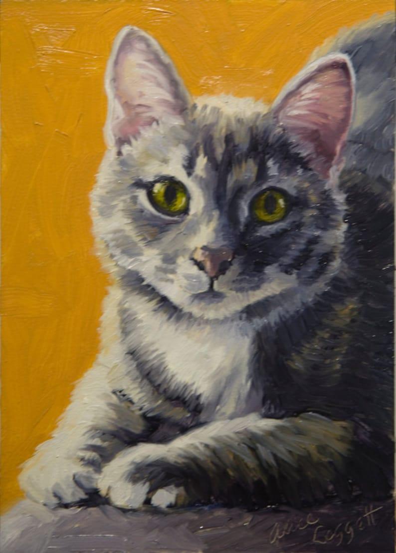 Gray Cat 5x7 Original Oil Painting on Panel by Alice Leggett image 0