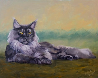 Maine Coon Cat, 9x12 Original Oil Painting on Panel by Alice Leggett, from a Photograph by Robert Sijka