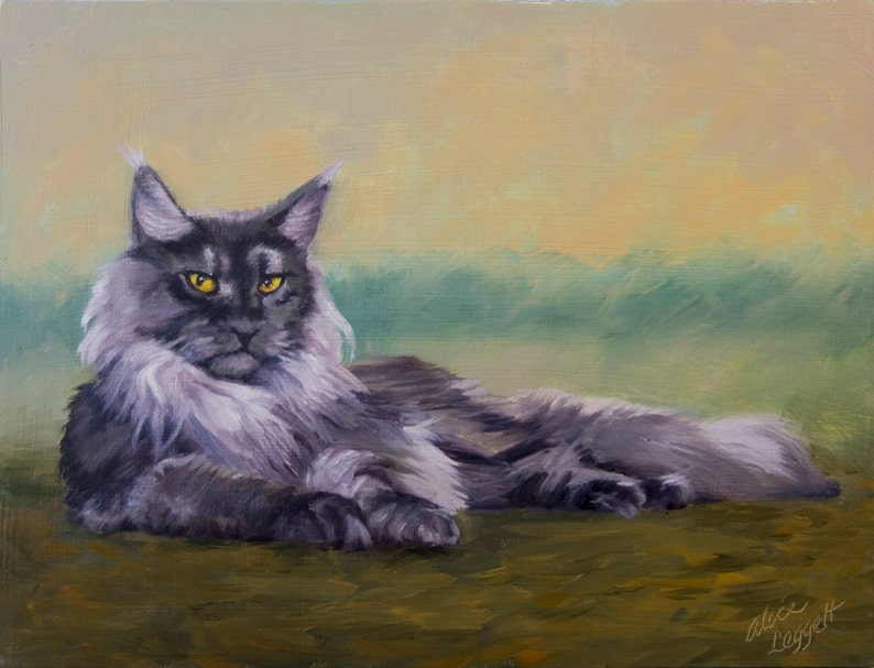 Maine Coon Cat 9x12 Original Oil Painting on Panel by Alice image 0