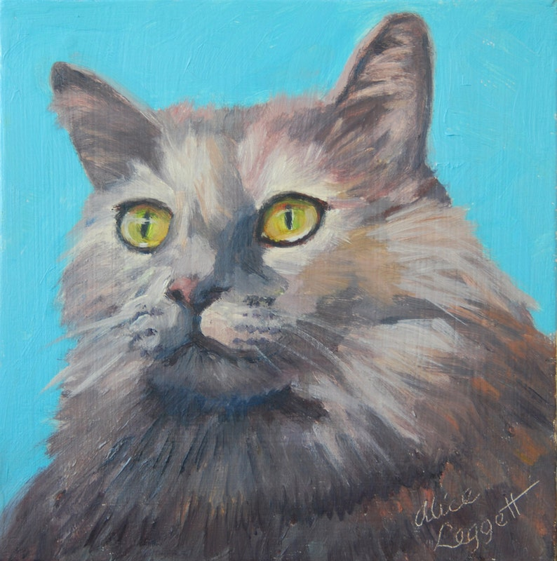 Gray Cat 6x6 Original Oil Painting on Panel by Alice Leggett image 0