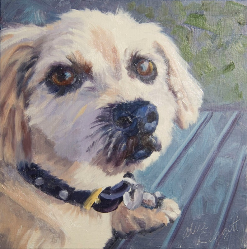 Dog-on Bench 6x6 Original Oil Painting on Panel by Alice image 0