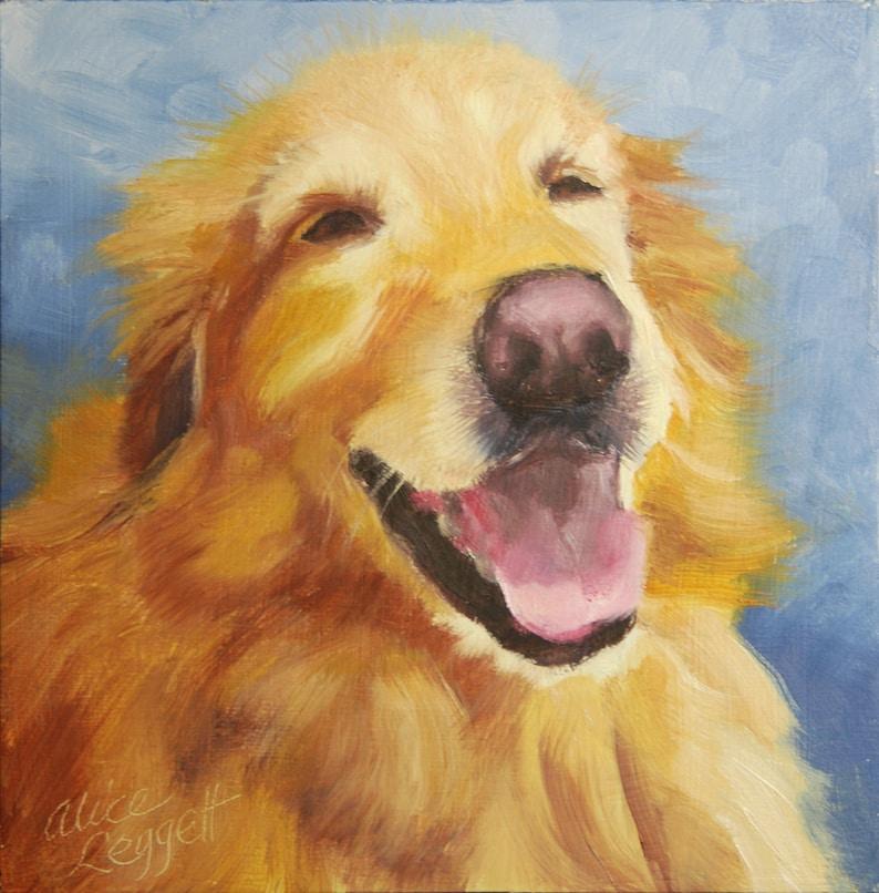 Custom Pet Portrait 6x6 Original Oil Painting on Panel Dog image 0