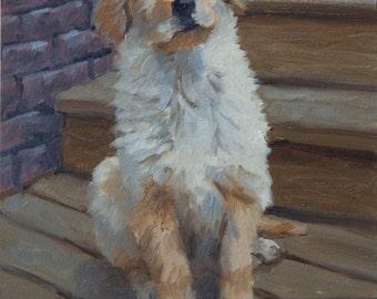 On the Steps, 5x7 Original Oil Painting on Panel by Alice Leggett