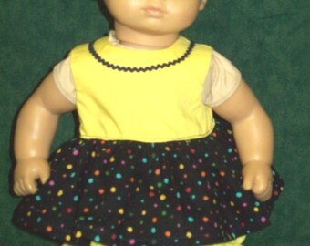 """Fits 15"""" -16"""" dolls - Black and Yellow Sundress with Panties"""